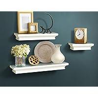 AHDECOR Wall Shelf Set of 3 Floating Shelves Storage 46/30/15 cm White