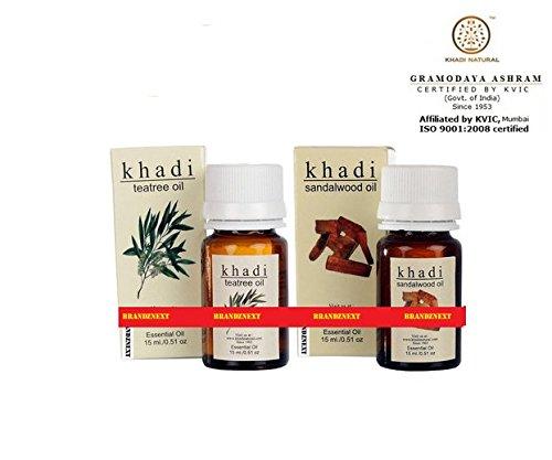Khadi Olio aromatizzato Combo-4-tea tree & sandali-Set di 2