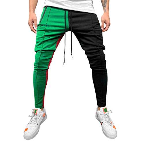 SOMESUN Moda Uomo Casuale Solido Sciolto Patchwork Colore Giuntura Hip Hop Tasca Stringa Pantaloni Sportivi,Pantaloni da Jogging,Lavoro Invernali Elegante Jeans Pantaloni Uomo Felpati