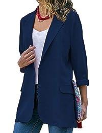 c9c3c95301d9 laamei Femmes Chic Élégant Vestes de Tailleur Blazer Bureau Business Jacket  Manche Longue Slim Élégant Petite