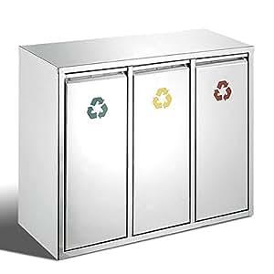 Bremermann ® poubelle à pédale en acier inoxydable 3 compartiments de 45 l environ, avec inserts 6064