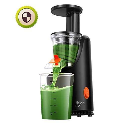 Slow Juicer IKICH Entsafter Kalt-Zitruspresse Höherer Saftertrag Maximaler Nährwert Frischere Nährstoffe und Vitamine für Obst und Gemüse 1 Saftbecher 1 Saftschalebecher 1 Detailrezept 200 W Motor.