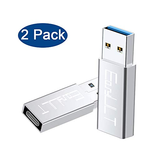 EasyULT USB C Adapter auf USB 3.0[2 Stück],Typ C (weiblich) auf USB A 3.0 (männlich) Max 10Gbps Konverter Adapter für Galaxy Huawei MacBook Oneplus(Silber) -
