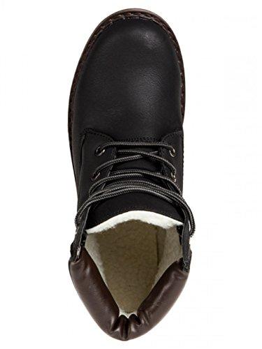 CASPAR SBO065 Boots style randonnée doublées pour femme Noir