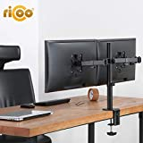 RICOO Support PC pour 2 ecrans TS6711 Double Bras orientable inclinable TV sur Pied...