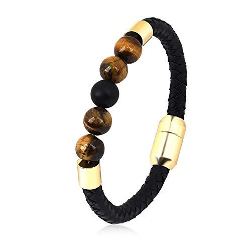 Lava Kostüm Mann - Fygrend - Schwarzes Leder-Armband 7 Chakra Bete Naturstein Black Lava Kristall-Korn-Yoga-Armband-Armband für Frauen Männer Schmuck [2]