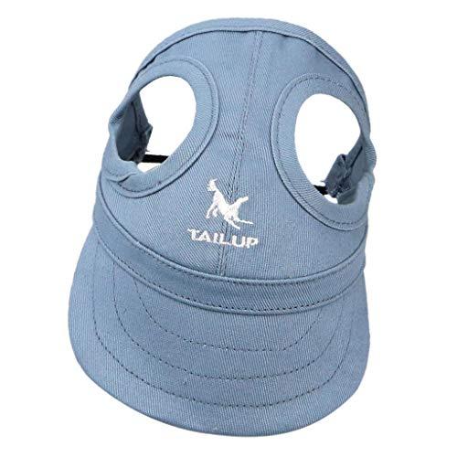 Hundecap Hundehut Baseballmütze Leinwand Baseball Cap Hut Mütze Kappe mit Ohrlöchern für Hunde - Blau, S