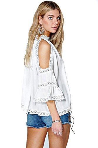 blanc Hommes Lacey Crochet Trim Haute Cou Ouvert Épaule Chemisier Blanc