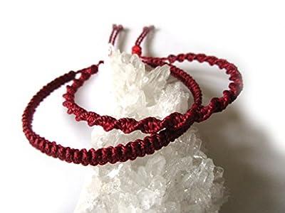 X2 Bracelets brésiliens en fil tissage fin plat et rond spirale rouge foncé tissés/tressés main en macramé avec du fil ciré. Amitié/Duo/Bohème/Unisexe/Surf/Bijoux/Kabbalah Réf.PP+PS60