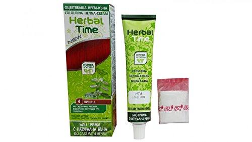 Herbal Time Semi Permanent Couleur des Cheveux Cerise Agitée N4 prêt à l'emploi avec Henna et extrait d'ortie Non Ammonia No Parabens