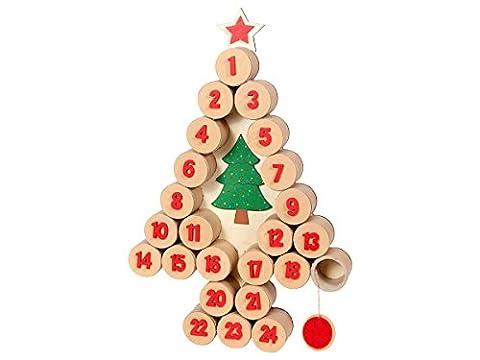 Calendrier de l'Avent en forme de sapin de Noël en bois (948123) décoration environ 60 x 40 cm numérotés de 1 à 24