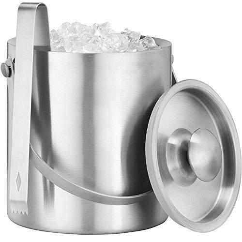 CMXX Doppelwandiger Eiskübel mit Deckel 1300 ml Eisbehälter aus Edelstahl mit Zange für Partys, Wein, Bier usw. Hält EIS länger (Eis-kühler Für Terrassen)