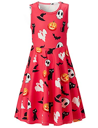 ACUCANDY Mädchen Party Kleid up Kostüms Halloween Drucken Clothes Play Wear Kleid