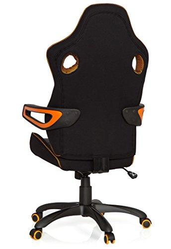 41hkIlwZJ5L - hjh OFFICE 621850 RACER PRO IV - Silla gaming y oficina, tejido negro/gris/naranja