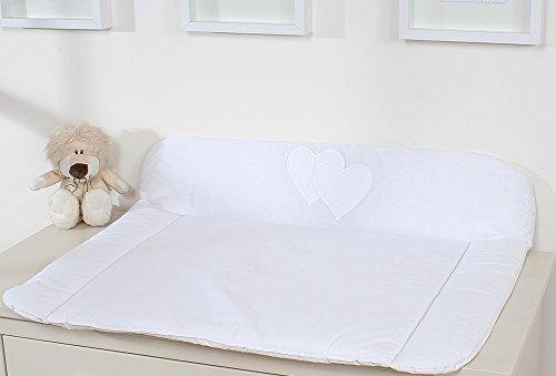 Materasso per fasciatoio in tessuto, formato grande, colore bianco, a cuori