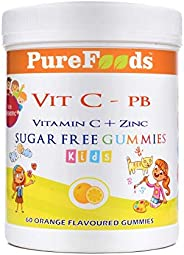 PureFoods Vit C-PB Vitamin C + Zinc Sugar Free Gummies For Kids with Prebiotics, 60 Gummies