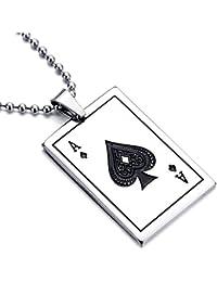 mendino para hombre colgante de acero inoxidable collar plata Ace of spades Poker Card Punk con cadena de 22inch
