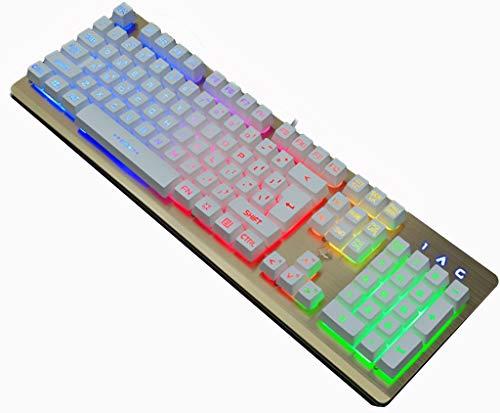 K002 Mechanische Tastatur Multimedia-Verknüpfung Regenbogen-Hintergrundbeleuchtung 104-Key Gaming-Tastatur
