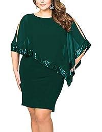 Vestiti Donna Ragazza Invernali di Moda in Pizzo Giuntura Chiffon delle  Abiti Cerimonia Rotondo Collo Corti 9cb187f9ddb