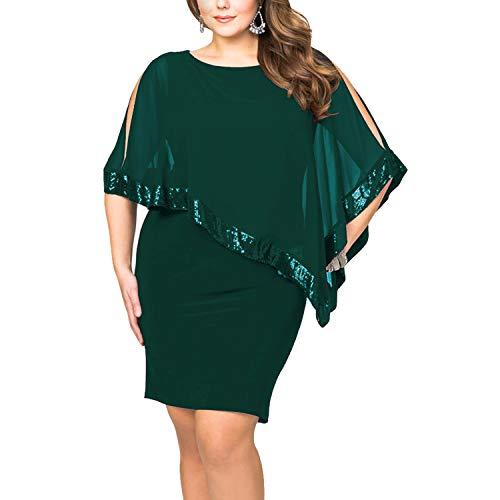 8f341154c9b9 Vestiti Donna Ragazza Invernali di Moda in Pizzo Giuntura Chiffon delle  Abiti Cerimonia Rotondo Collo Corti