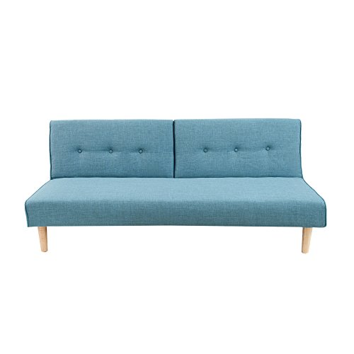 Modernes Schlafsofa BALTIC 180 cm Strukturstoff Couch aquamarin blau Couch Sofa skandinavisch