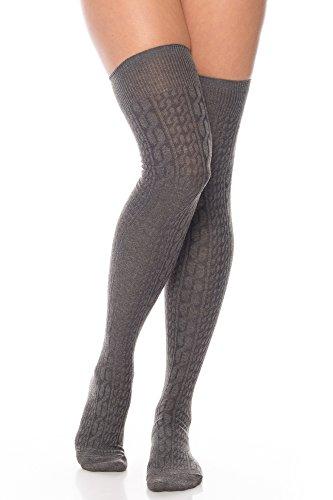 Kendindza Unisex Overknee Strümpfe Socken einfarbige Knie-Strümpfe Oktoberfest knie-lang mit Muster (1er Pack Damen, Grau)