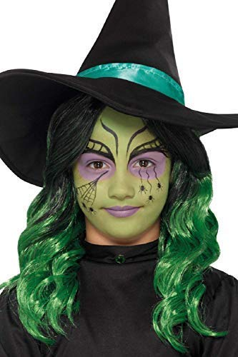 Mädchen-grün Hexe Halloween Make-Up mit Glitzer Pinsel Applikatoren Gesichtsfarbe Kostüm Kleid Outfit (Spinne Kostüm Gesicht Malen)