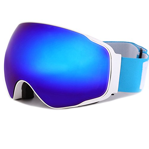 Meao Maschere da Sci con Staccabile Grandangolare Lenti Goggles Ampio Angolo di Visione Anti Fog UV 401 Protezione 4200 Bianco
