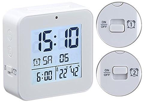 infactory Funkwecker: Funk-Wecker mit 2 Weckzeiten, Thermo-Hygrometer, Lichtsensor, weiß (Wecker mit mehreren Weckzeiten)