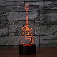 LNDDP Rock Guitar Modelling 3D Visual Nightlight LED 7 Colors Changing Touch Button Table Lamp USB Sleep Lighting Bedroom Decor, New Year