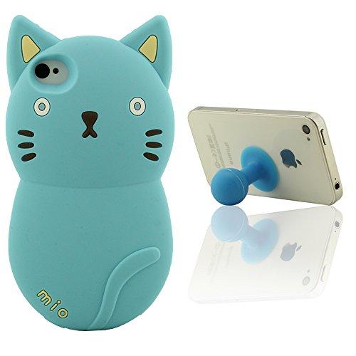 iPhone 4 4S Handy Hülle Case mit Frei Silikon Haltewinkel, Niedlich Tier Stil ( 3D Schön Katze ), Weiche Silikon Gel Material Protective Phone Case Stoßfest Blau