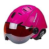 ZWL Erwachsener Skifahren Helm Schutzhelm Mit Brille Männer und Frauen Schutz Snowboard Helm Schutzausrüstung,Pink