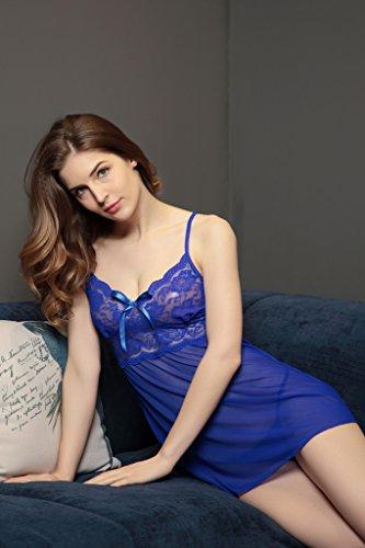 NINGMI Femmes Lingerie Dentelle Sexy Babydoll Flirt Pyjamas Robe Fine à Bretelle Bleu