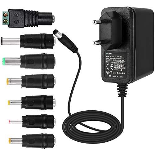 EFISH 12V 2A 24W Trafo liefern Netzteil,Netzstecker für Hausgeräte,CCTV Kamera,Yamaha Keyboard,Router,Hubs,LED-Streifen,Telekom,T-Com,Speedport,Radiowecker,Scanner,Schalter+7 Verschiedene Stecker