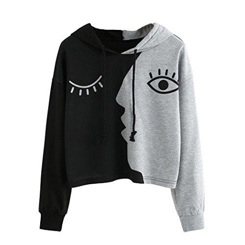 TWIFER Damen Sweatshirt mit Kapuze Langarm Crop Pullover Frauen Patchwork Bluse Oberteile (L, Grau) (Günstige Frauen Jacken)