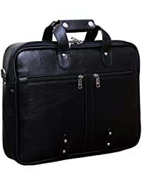 "GLEAM Faux Leather 15.6"" Black Laptop Briefcase"