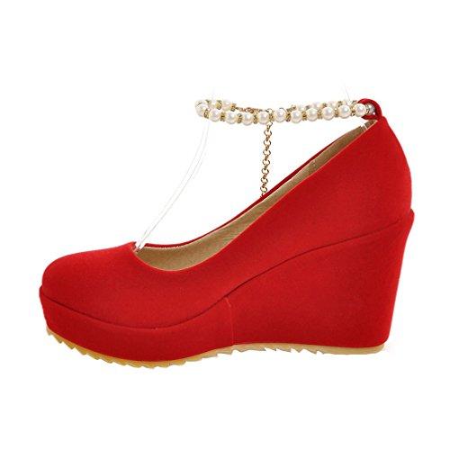 ENMAYER Femmes Suède Pearls Ceinture de Cheville Wedge Talons Sauts Round Toe Suede Platform Pompes Casual Shoes Rouge#42