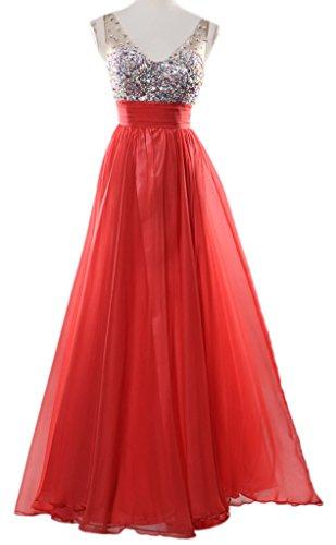 Eyekepper Robe Soiree col en V Paillettes en mousseline de soie nuptiale robe longue de bal femmes Rouge