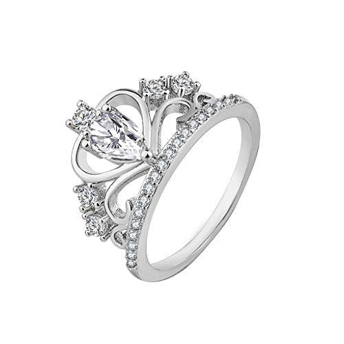 Nourich - anello da donna semplice boutique con zirconi, placcato in argento/oro con cristalli di zirconia cubica taglio princess