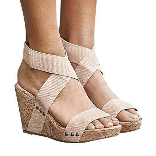 JiaMeng Zapatillas Mujer Flip Flop Sneakers cuñas Mujer Cabeza Redonda Retro Cuñas Pisos Banda elástica Sandalias de Fondo Grueso Zapatillas
