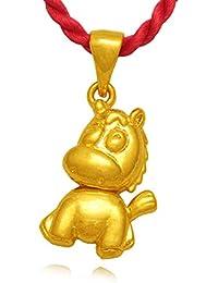 6f85fc801ad9 Qijavan - Collar con Colgante Chapado en Oro de 18 Quilates con diseño de  Caballo y Poni con Caja de joyería