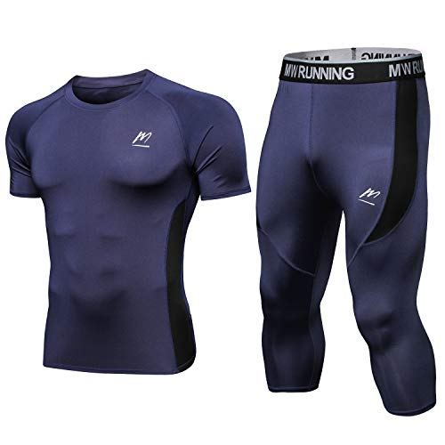 MeetHoo Kompressionsshirt Herren, 3/4 Laufhose Running Tights Funktionsshirt Sport Leggings Laufshirt Kurzarm Kompressionshose Sportshirt für Männer