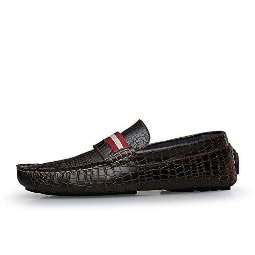Herren Flat Drivingl Schuhe Leder Loafer Flats Slip-On Mokassins Dunkelbraun