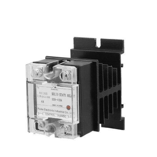 Preisvergleich Produktbild sourcingmap® Einzelphase SSR Halbleiterrelais mit Kühlkörper DC-WECHSELSTROM DC 3-32V zu Wechselstrom 24-480V 40A