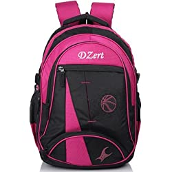 Dzert Foot Ball Polyester 40 Ltrs Big Waterproof School, Laptop, Luggage Backpack For Boys Girls (Pink)