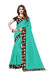 Bhuwal Fashion Womans chanderi silk kalamkari saree with Blouse (sky)
