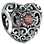 Herzanhänger Pandora Armbänder Granat Rot Birthstone mit Filigranem Charme 925 Sterling Silber Perlen