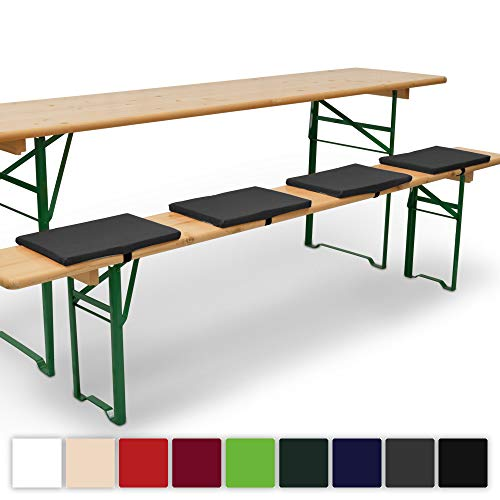 Beautissu 4er Set Comfort XS gepolsterte Bierbankkissen 25x36x2 cm Kissen Sitzkissen mit Befestigungsband - anthrazit erhältlich