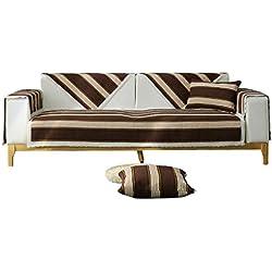 QI FANG BUSINESS Rücken- & Sitzkissen Sofakissen Kissen Bodenmatte Wohnzimmer Baumwollkissen Moderne minimalistische Sofa Bezug Handtuch Anti-Rutsch-Abdeckung (Color : Brown, Size : 110 * 180cm)