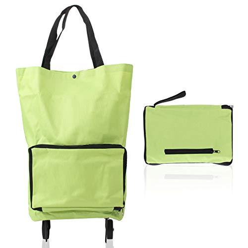 LetiStore Einkaufstrolley Klappbar - Einkaufstasche Faltbar Mit Rollen - Faltbarer Einkaufswagen Einkaufstasche Trolley Grün